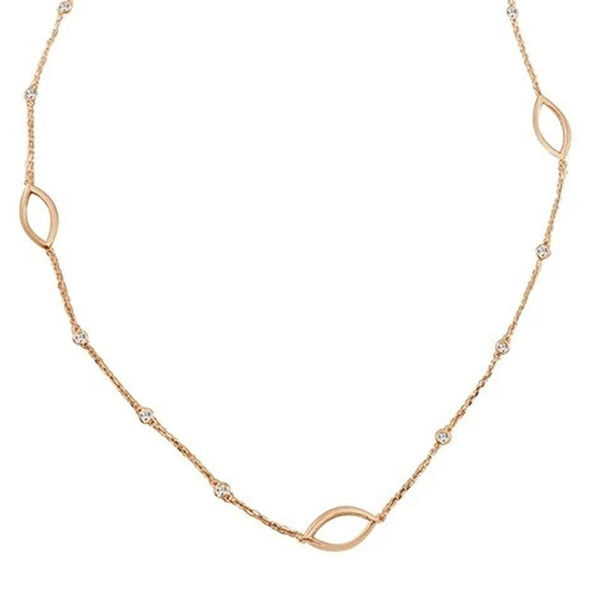 Open 7 Marquise Diamond Station Necklace