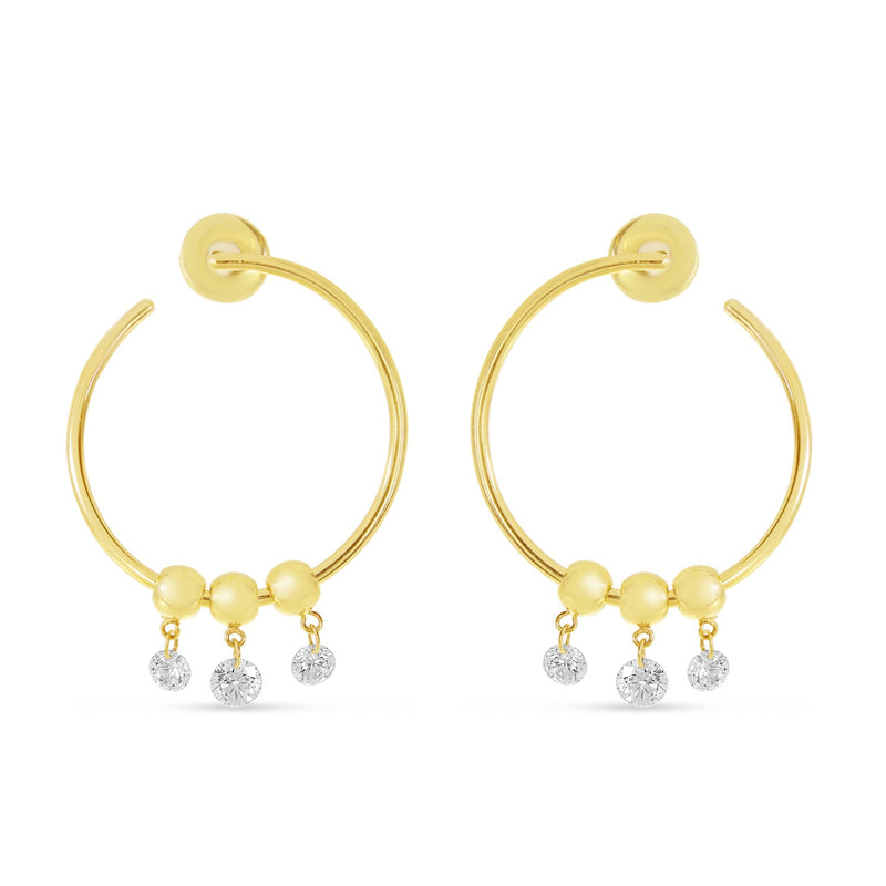 Dashing Diamond Circle Hoop Earrings