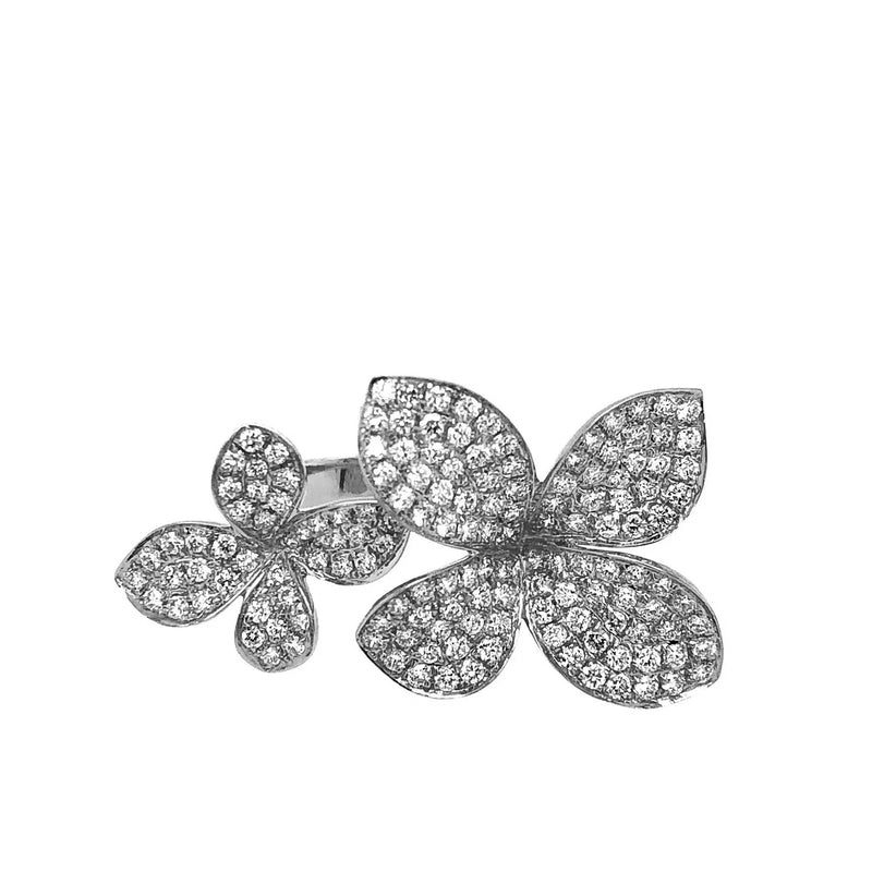 White Gold Pave Flower Ring