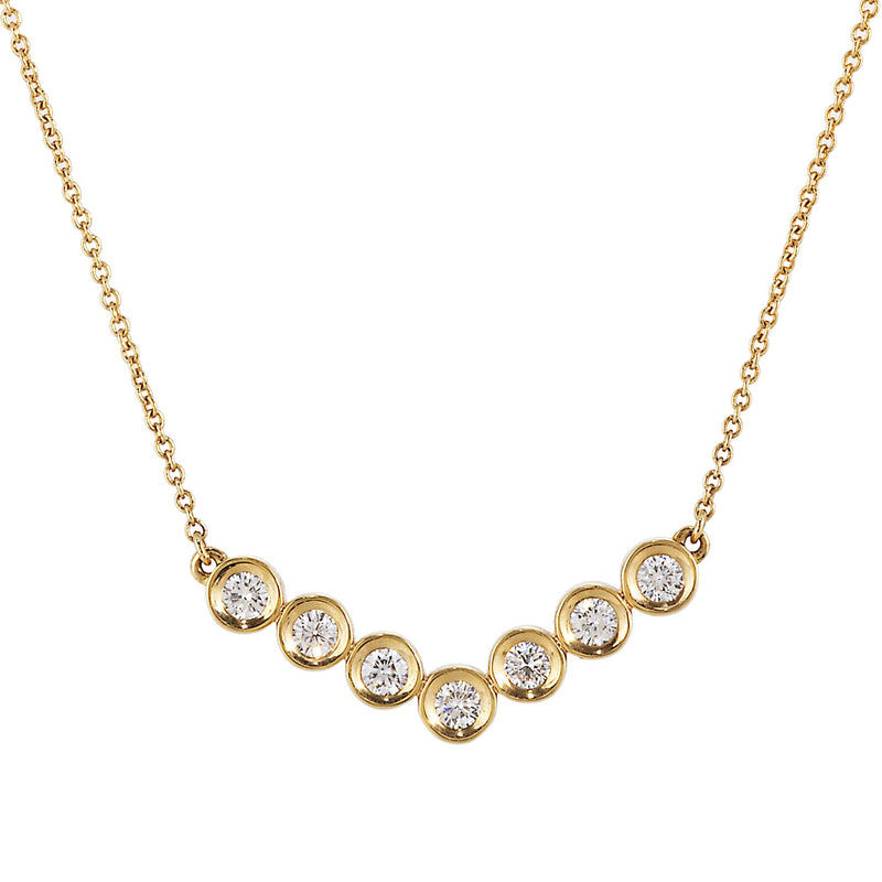 "Doves Bezel Set Diamond ""V"" Shaped Necklace"