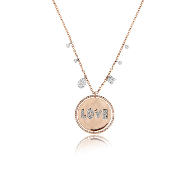 Rose Gold Love Diamond Disc Necklace