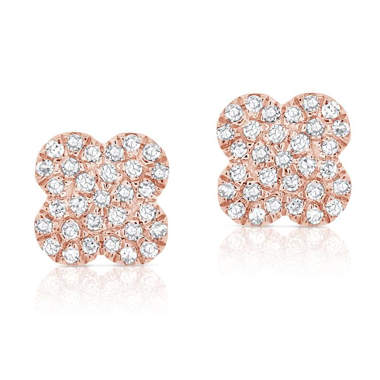 Trendy 14K Rose Gold and Diamond Clover Earrings
