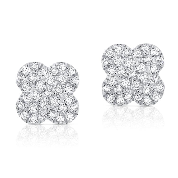 14K Gold Diamond Flower Cluster Earrings