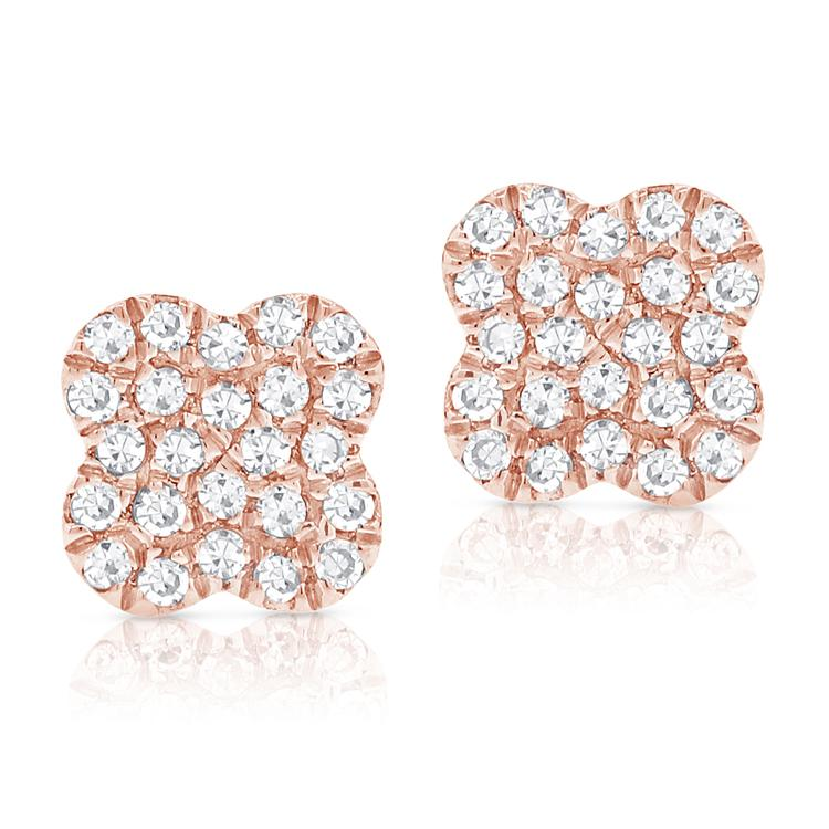 Sabrina Designs 14k Rose Gold Diamond Clover Studs