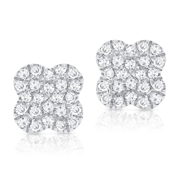 Sabrina Designs 14k White Gold Diamond Clover Studs