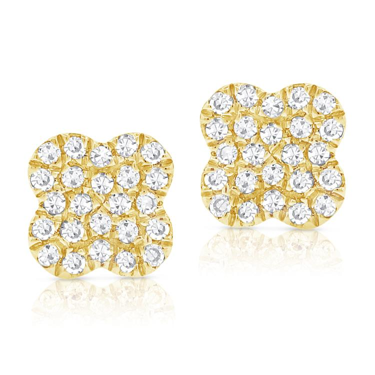 Sabrina Designs 14k Yellow Gold Diamond Clover Studs