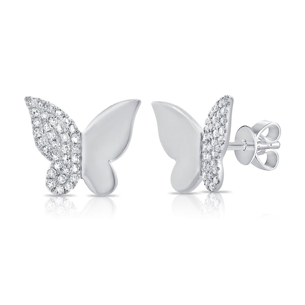 Sabrina Designs 14k White Gold Diamond Butterfly Studs