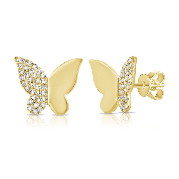 Sabrina Designs 14k Yellow Gold Diamond Butterfly Studs