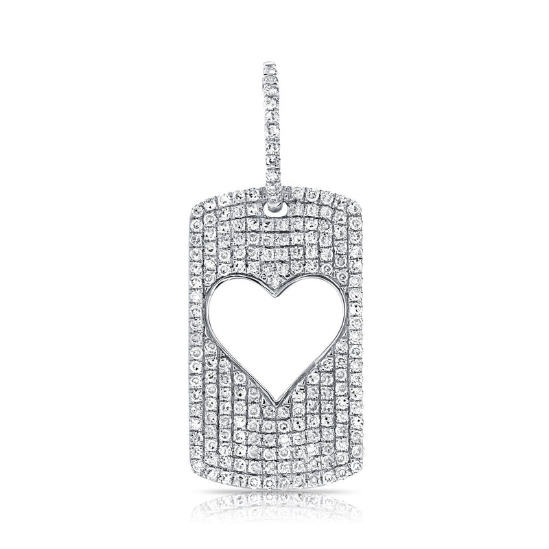 Sabrina Design 14k White Gold Open Heart Tag Charm