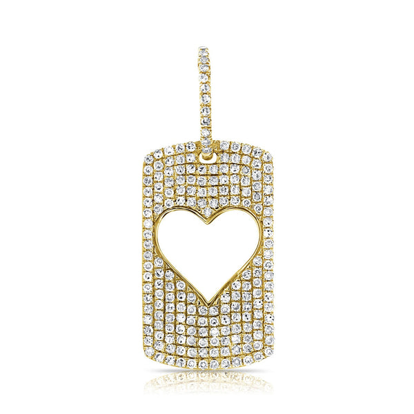 Sabrina Design 14k Yellow Gold Open Heart Tag Charm