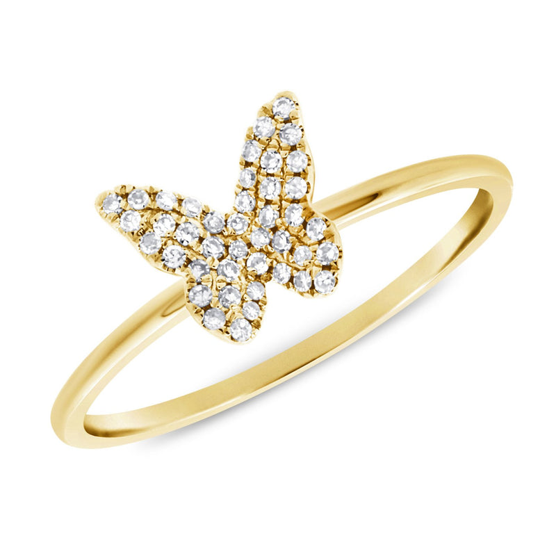 14K Gold & Pave Diamond Butterfly Ring