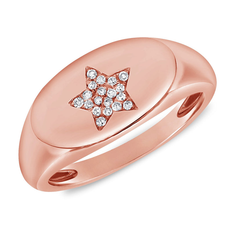 Sabrina Design 14K Rose Gold Diamond Star Signet Ring