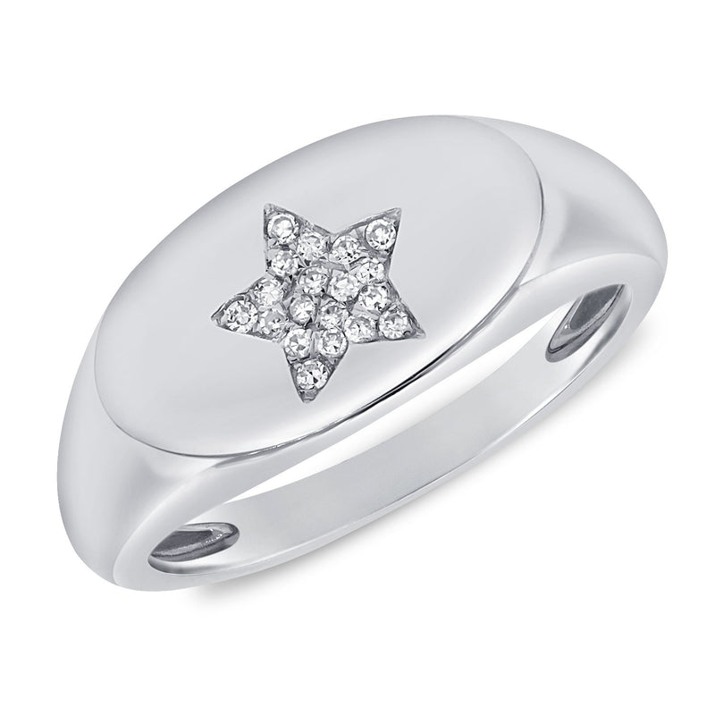 Sabrina Design 14K White Gold Diamond Star Signet Ring