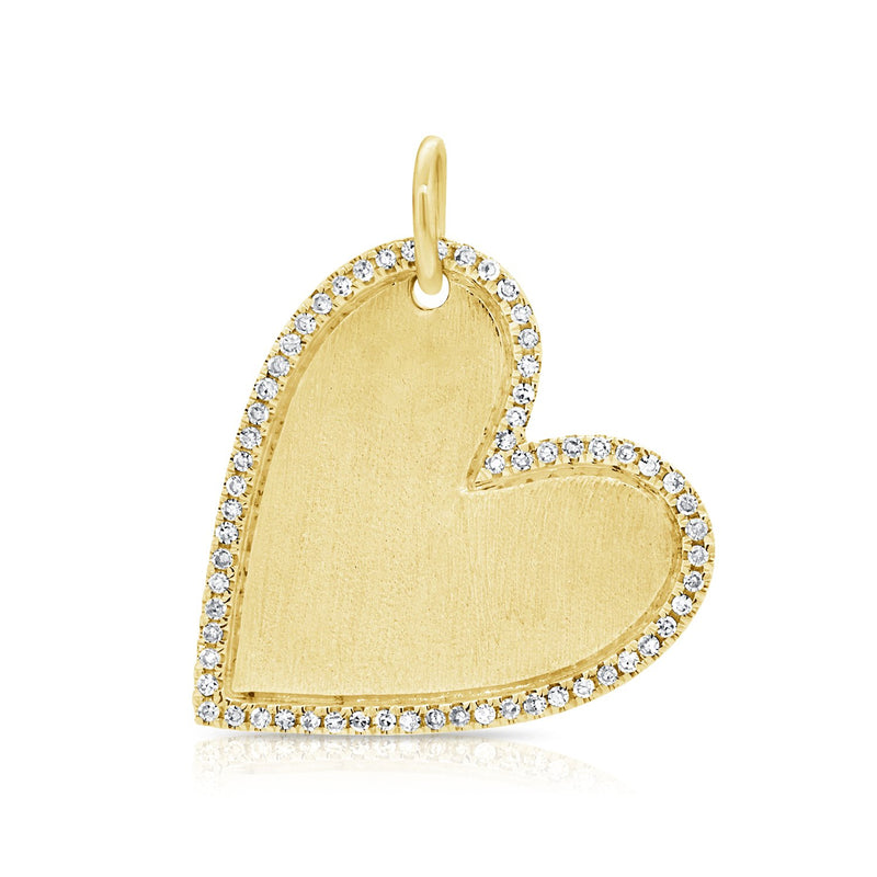 14k Gold & Diamond Angled Heart Charm
