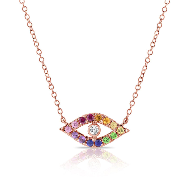 Sabrina Designs 14K Pink Gold Rainbow Evil Eye Diamond Necklace