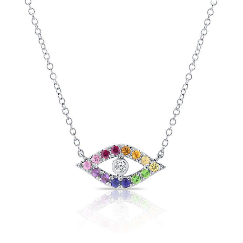 Sabrina Designs 14K White Gold Rainbow Evil Eye Diamond Necklace