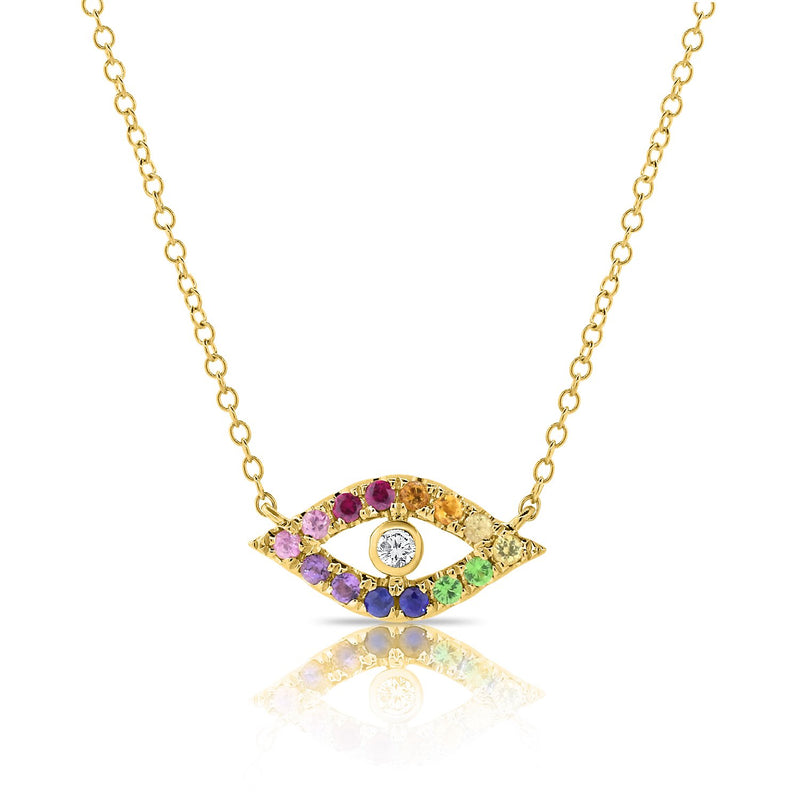 Sabrina Designs 14K Yellow Gold Rainbow Evil Eye Diamond Necklace