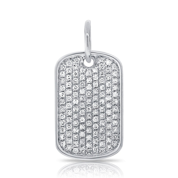Sabrina Designs 14k White Gold Diamond Pave Dog Tag Charm