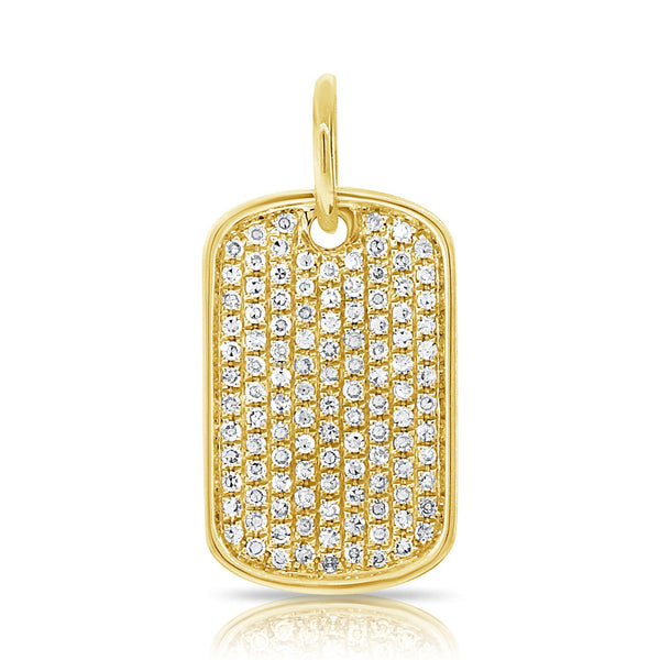 Sabrina Designs 14k Yellow Gold Diamond Pave Dog Tag Charm