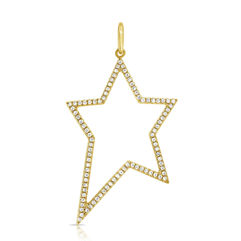 Sabrina Designs 14k Yellow Gold Open Star Diamond Charm