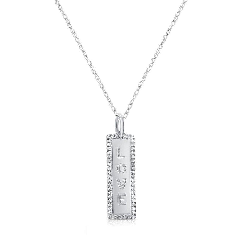 Sabrina Designs 14k White Gold Diamond Vertical Love Necklace