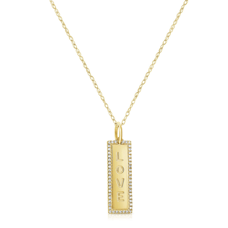 Sabrina Designs 14k Yellow Gold Diamond Vertical Love Necklace