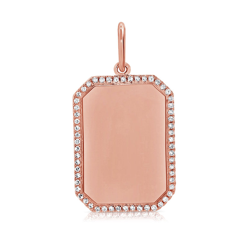 Sabrina Designs 14k Rose Gold Diamond Dog Tag Plate Charm