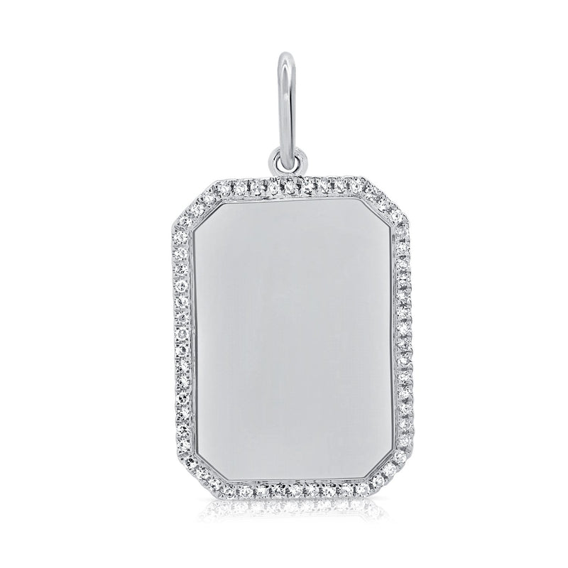 Sabrina Designs 14k White Gold Diamond Dog Tag Plate Charm