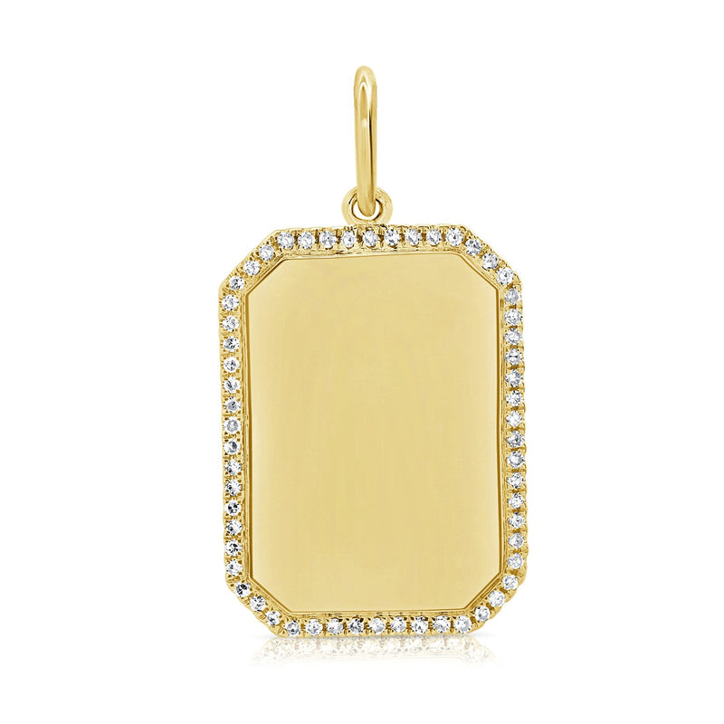 Sabrina Designs 14k Yellow Gold Diamond Dog Tag Plate Charm