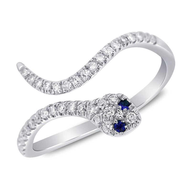 Sabrina Designs 14k White Gold Diamond & Sapphire Snake Ring