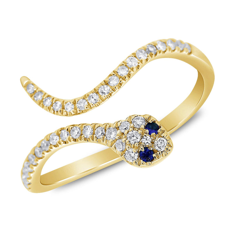 Sabrina Designs 14k Yellow Gold Diamond & Sapphire Snake Ring
