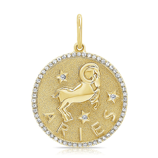 14k Gold & Diamond Zodiac Charm