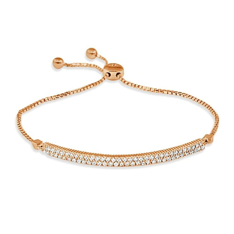 14K Gold Diamond Bar Bolo Bracelet