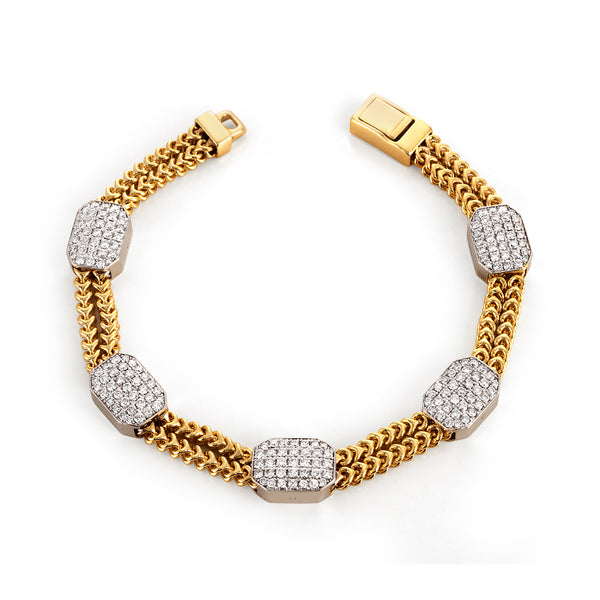 Yellow Gold Double Chain Bracelet with Rectangular Pave Stations