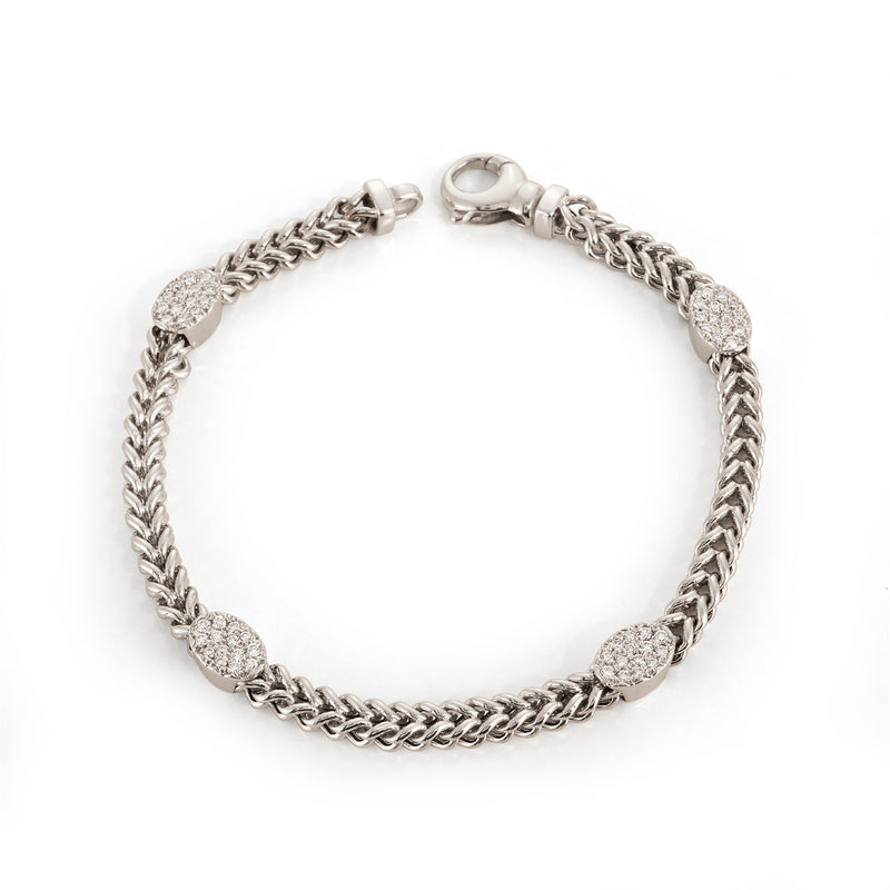 White Gold Chain Bracelet with Pave Oval Stations