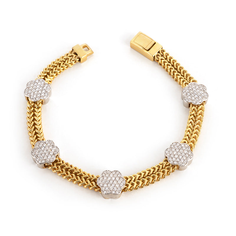 Yellow Gold Double Row Chain Bracelet with Pave Flower Stations