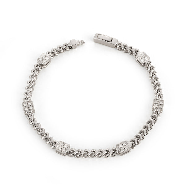 White Gold Chain Bracelet with Square Pave Stations