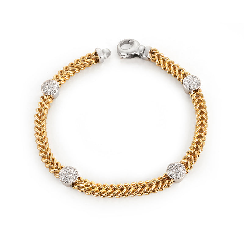 Yellow Gold Chain Bracelet with Round Pave Stations