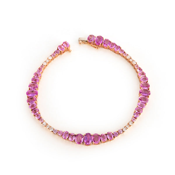 Pink Sapphire and Diamond Wave Bracelet
