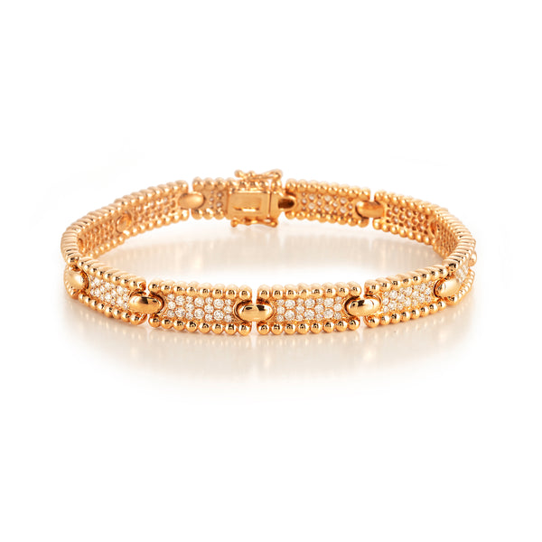 Beaded Edge Pave Link Bracelet
