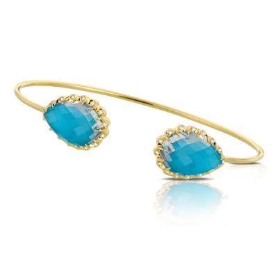 Doves Yellow Gold, Diamond and Turquoise Bangle
