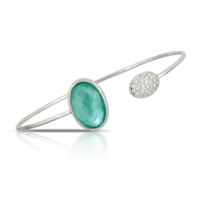 Doves White Gold, Diamond and Green Agate Bangle