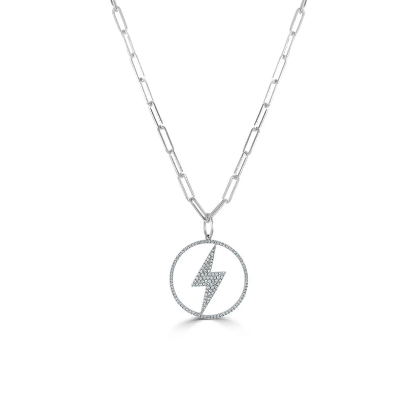 14K Gold Link Chain Necklace with Diamond Lightning Bolt Necklace