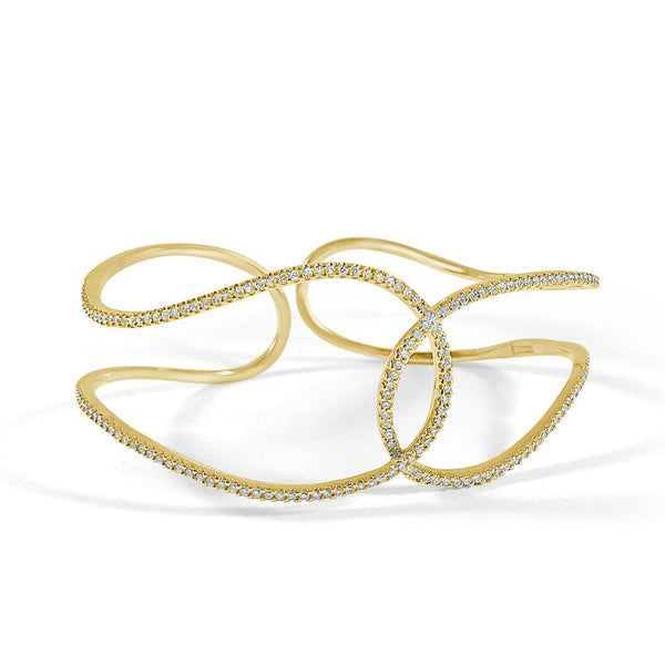 14K Gold Open Diamond Bangle