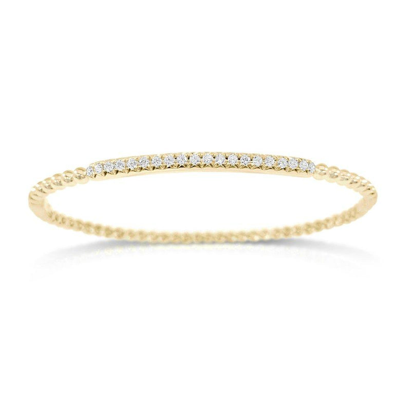 14K Gold & Diamond Beaded Bangle