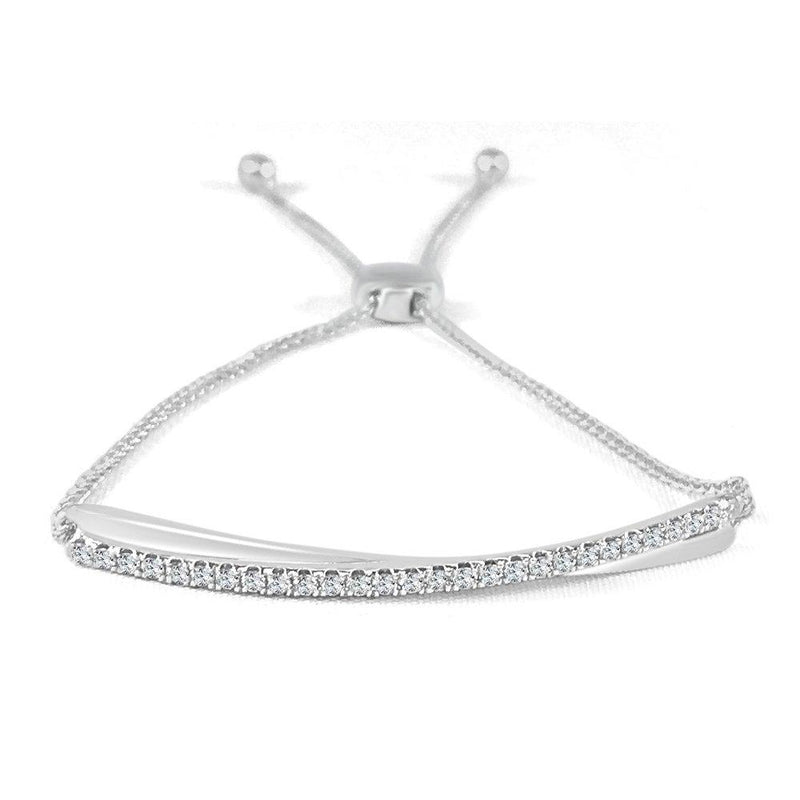 Sabrina Designs 14K White Gold Diamond Bolo Adjustable Bracelet