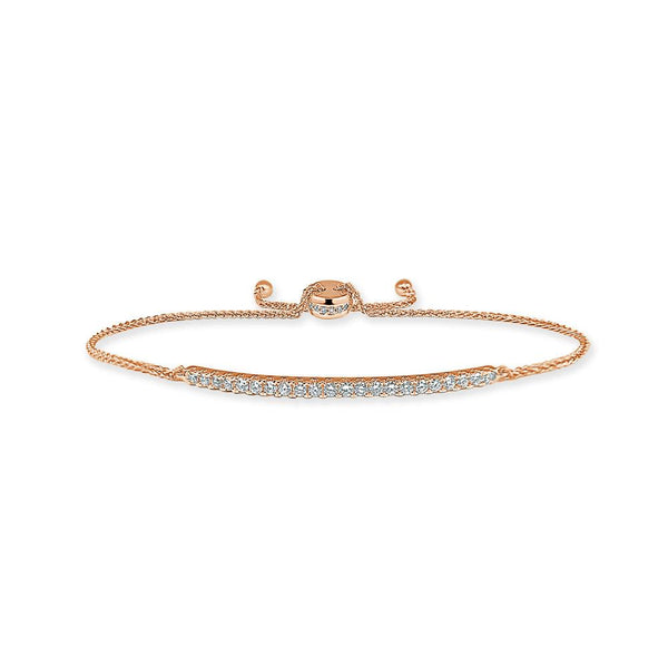 Sabrina Designs 14k Rose Gold Diamond Adjustable Bar Bolo Bracelet
