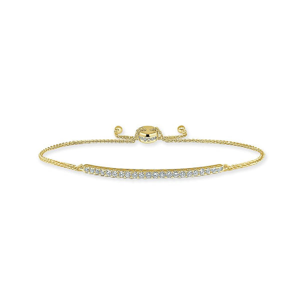 Sabrina Designs 14k Yellow Gold Diamond Adjustable Bar Bolo Bracelet