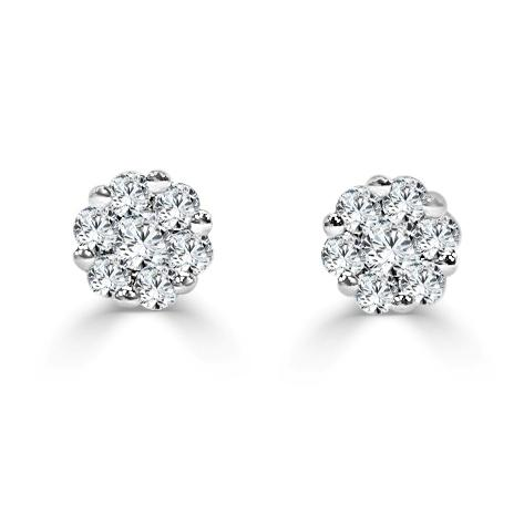14K Gold & Diamond Cluster Stud Earring