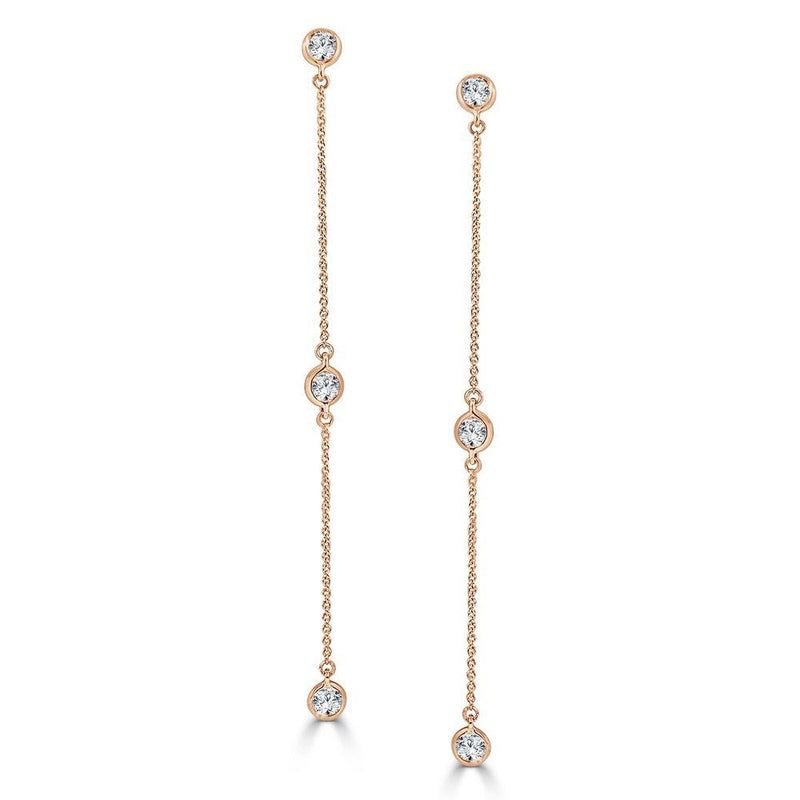 Sabrina Designs 14K Rose Gold Diamond by the Yard Dangle Earrings